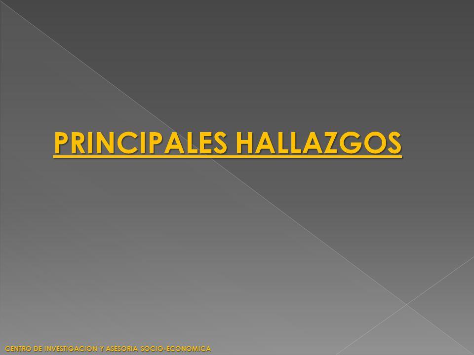 PRINCIPALES HALLAZGOS CENTRO DE INVESTIGACION Y ASESORIA SOCIO-ECONOMICA