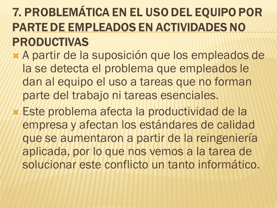7. PROBLEMÁTICA EN EL USO DEL EQUIPO POR PARTE DE EMPLEADOS EN ACTIVIDADES NO PRODUCTIVAS A partir de la suposición que los empleados de la se detecta