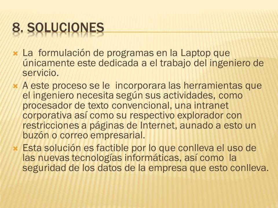 La formulación de programas en la Laptop que únicamente este dedicada a el trabajo del ingeniero de servicio.