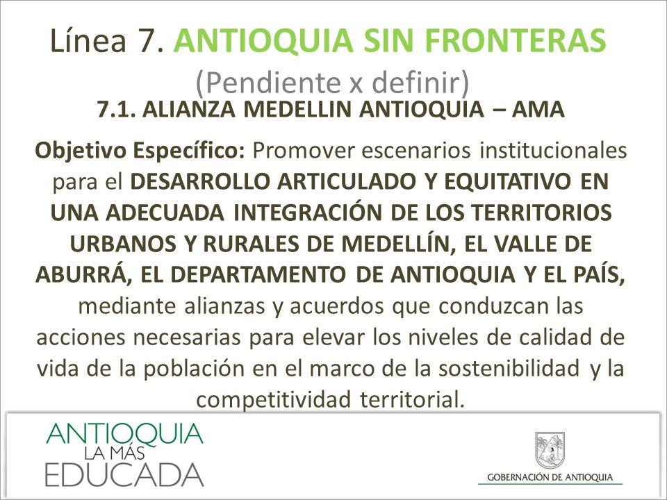 Línea 7. ANTIOQUIA SIN FRONTERAS (Pendiente x definir) 7.1. ALIANZA MEDELLIN ANTIOQUIA – AMA Objetivo Específico: Promover escenarios institucionales