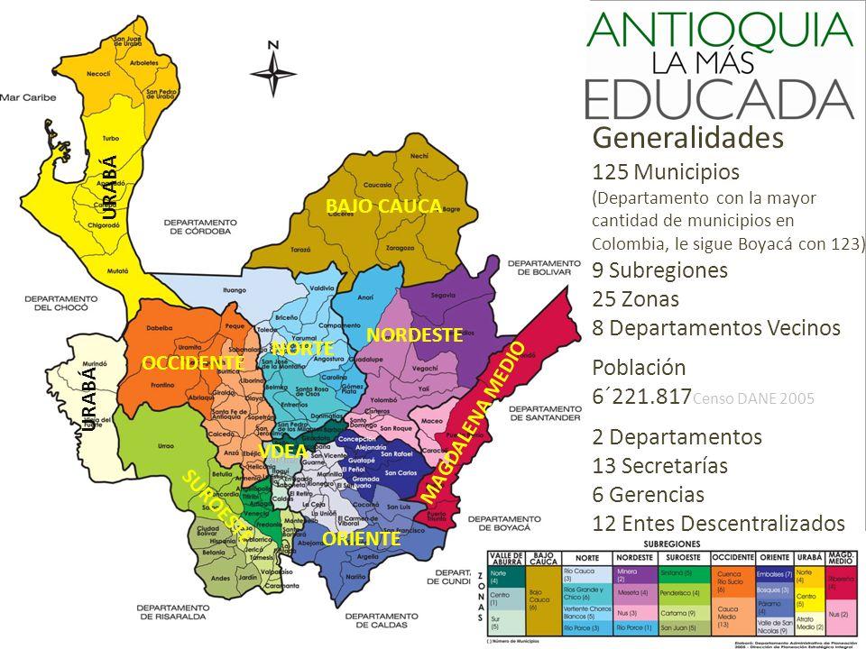 Generalidades 125 Municipios (Departamento con la mayor cantidad de municipios en Colombia, le sigue Boyacá con 123) 9 Subregiones 25 Zonas 8 Departam