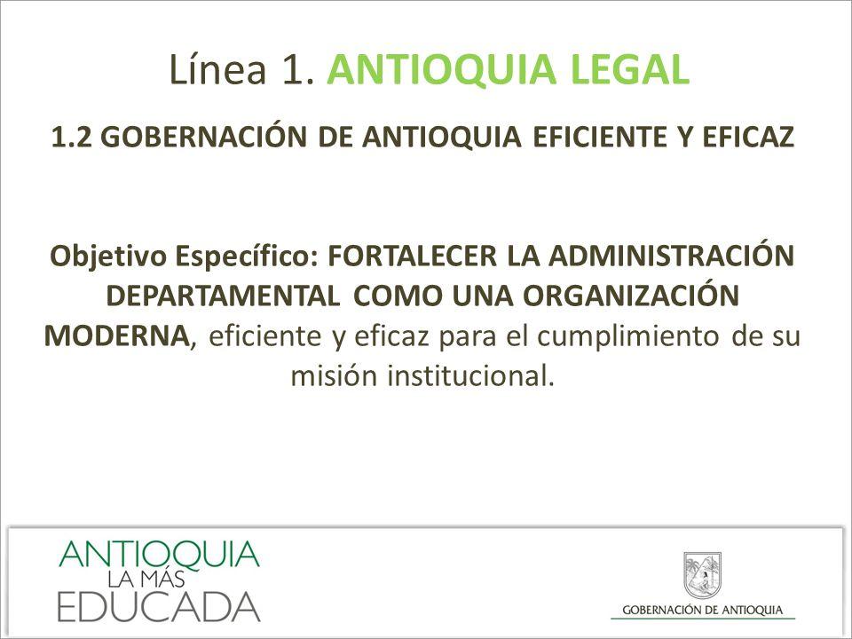 Línea 1. ANTIOQUIA LEGAL 1.2 GOBERNACIÓN DE ANTIOQUIA EFICIENTE Y EFICAZ Objetivo Específico: FORTALECER LA ADMINISTRACIÓN DEPARTAMENTAL COMO UNA ORGA