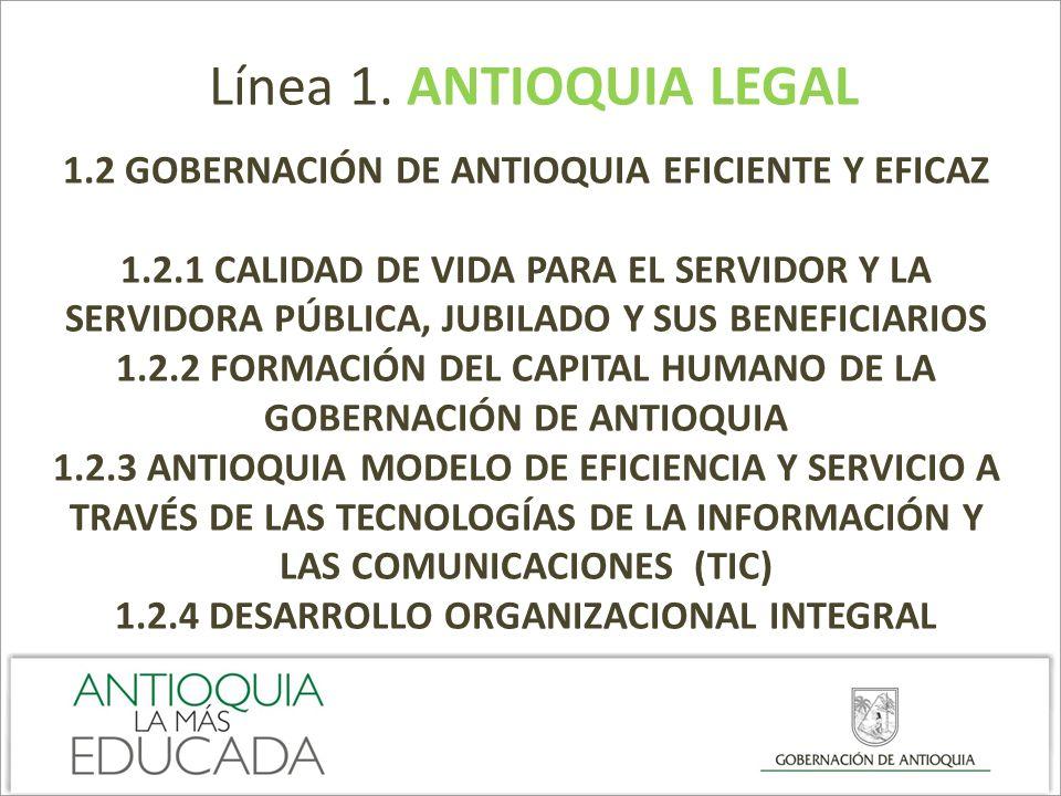 Línea 1. ANTIOQUIA LEGAL 1.2 GOBERNACIÓN DE ANTIOQUIA EFICIENTE Y EFICAZ 1.2.1 CALIDAD DE VIDA PARA EL SERVIDOR Y LA SERVIDORA PÚBLICA, JUBILADO Y SUS