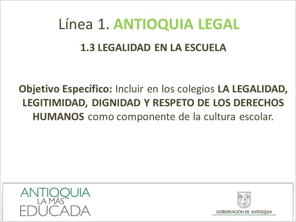 Línea 1. ANTIOQUIA LEGAL 1.3 LEGALIDAD EN LA ESCUELA Objetivo Específico: Incluir en los colegios LA LEGALIDAD, LEGITIMIDAD, DIGNIDAD Y RESPETO DE LOS