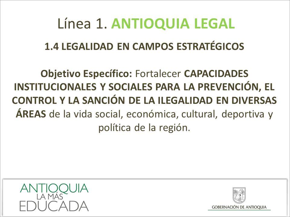 Línea 1. ANTIOQUIA LEGAL 1.4 LEGALIDAD EN CAMPOS ESTRATÉGICOS Objetivo Específico: Fortalecer CAPACIDADES INSTITUCIONALES Y SOCIALES PARA LA PREVENCIÓ