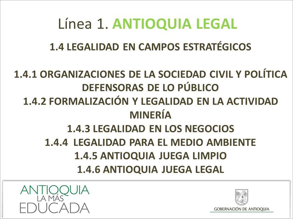 Línea 1. ANTIOQUIA LEGAL 1.4 LEGALIDAD EN CAMPOS ESTRATÉGICOS 1.4.1 ORGANIZACIONES DE LA SOCIEDAD CIVIL Y POLÍTICA DEFENSORAS DE LO PÚBLICO 1.4.2 FORM