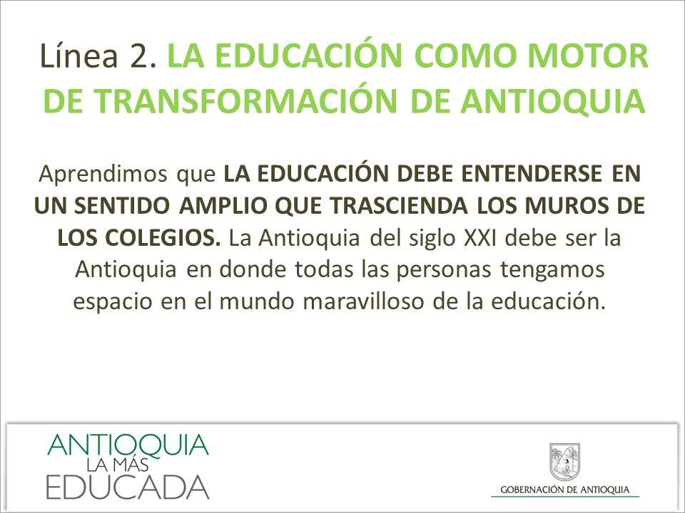 Línea 2. LA EDUCACIÓN COMO MOTOR DE TRANSFORMACIÓN DE ANTIOQUIA Aprendimos que LA EDUCACIÓN DEBE ENTENDERSE EN UN SENTIDO AMPLIO QUE TRASCIENDA LOS MU