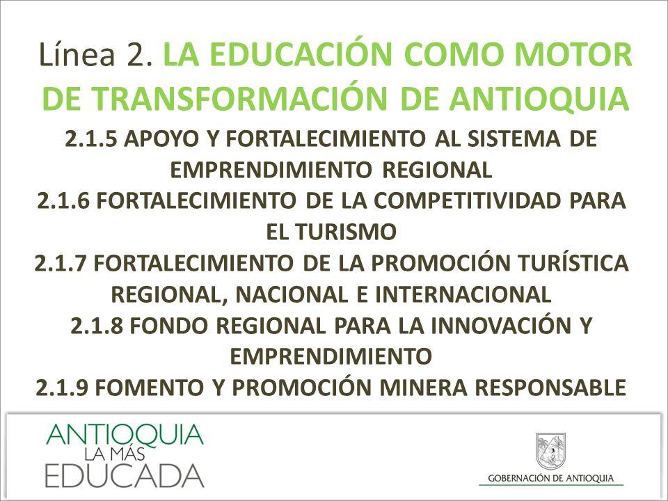 Línea 2. LA EDUCACIÓN COMO MOTOR DE TRANSFORMACIÓN DE ANTIOQUIA 2.1.5 APOYO Y FORTALECIMIENTO AL SISTEMA DE EMPRENDIMIENTO REGIONAL 2.1.6 FORTALECIMIE