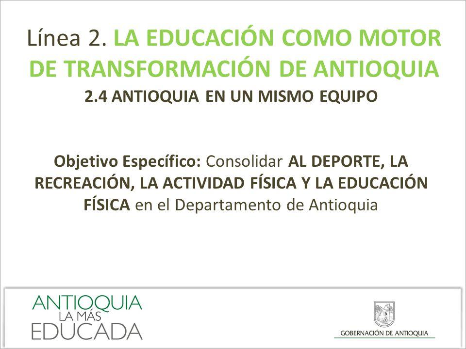 Línea 2. LA EDUCACIÓN COMO MOTOR DE TRANSFORMACIÓN DE ANTIOQUIA 2.4 ANTIOQUIA EN UN MISMO EQUIPO Objetivo Específico: Consolidar AL DEPORTE, LA RECREA