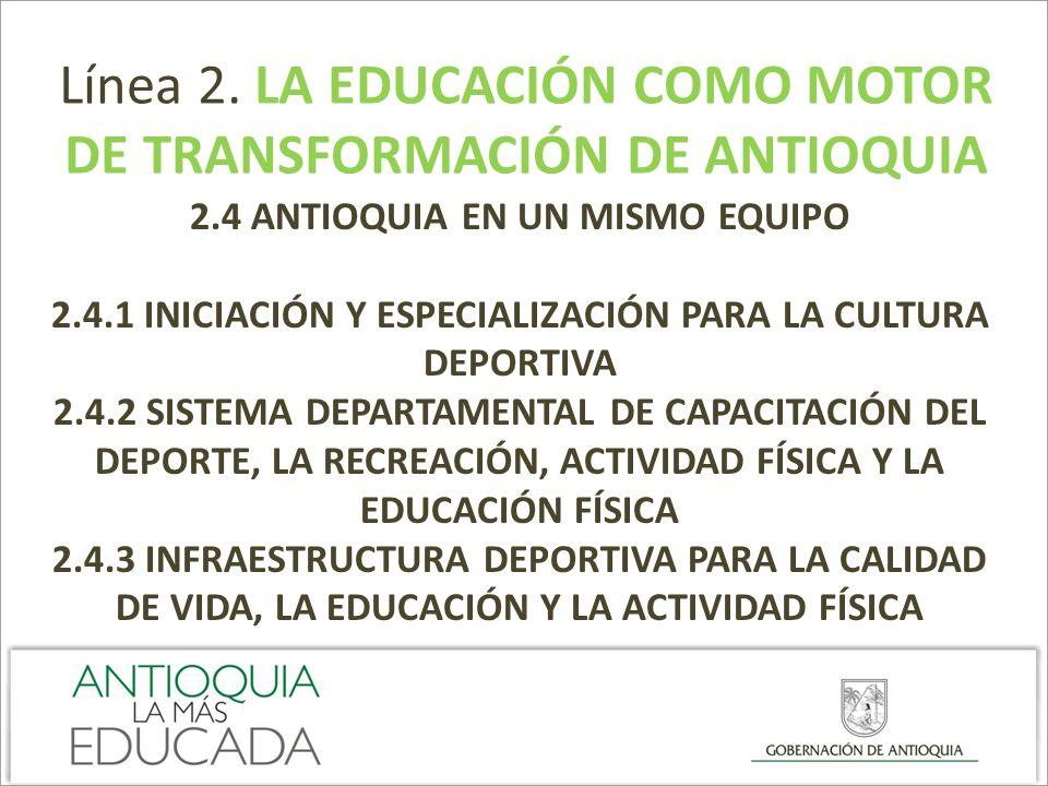 Línea 2. LA EDUCACIÓN COMO MOTOR DE TRANSFORMACIÓN DE ANTIOQUIA 2.4 ANTIOQUIA EN UN MISMO EQUIPO 2.4.1 INICIACIÓN Y ESPECIALIZACIÓN PARA LA CULTURA DE