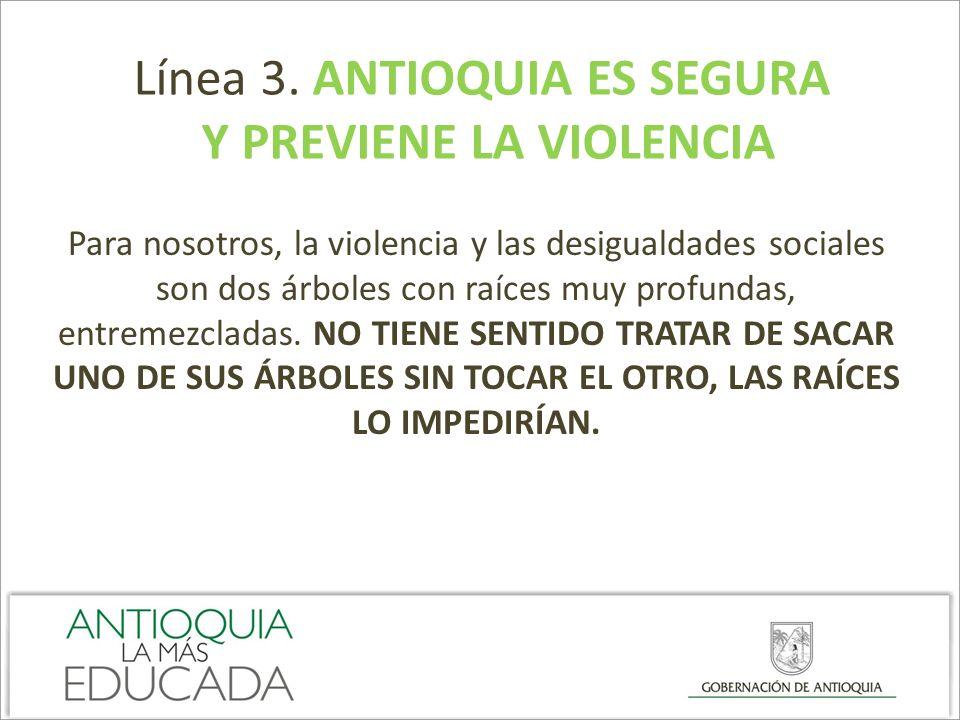 Línea 3. ANTIOQUIA ES SEGURA Y PREVIENE LA VIOLENCIA Para nosotros, la violencia y las desigualdades sociales son dos árboles con raíces muy profundas