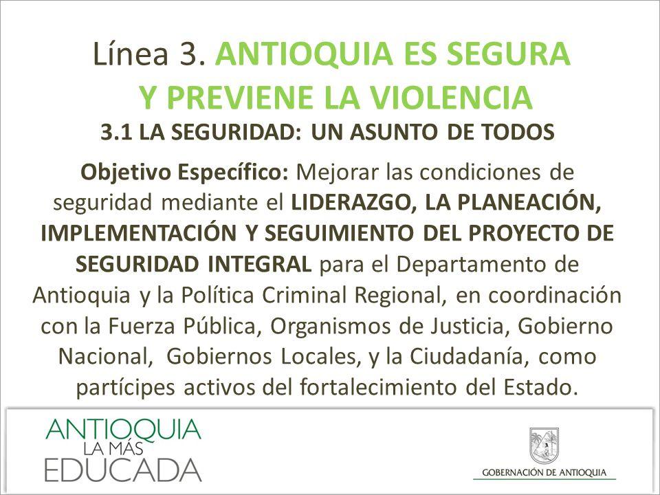 Línea 3. ANTIOQUIA ES SEGURA Y PREVIENE LA VIOLENCIA 3.1 LA SEGURIDAD: UN ASUNTO DE TODOS Objetivo Específico: Mejorar las condiciones de seguridad me