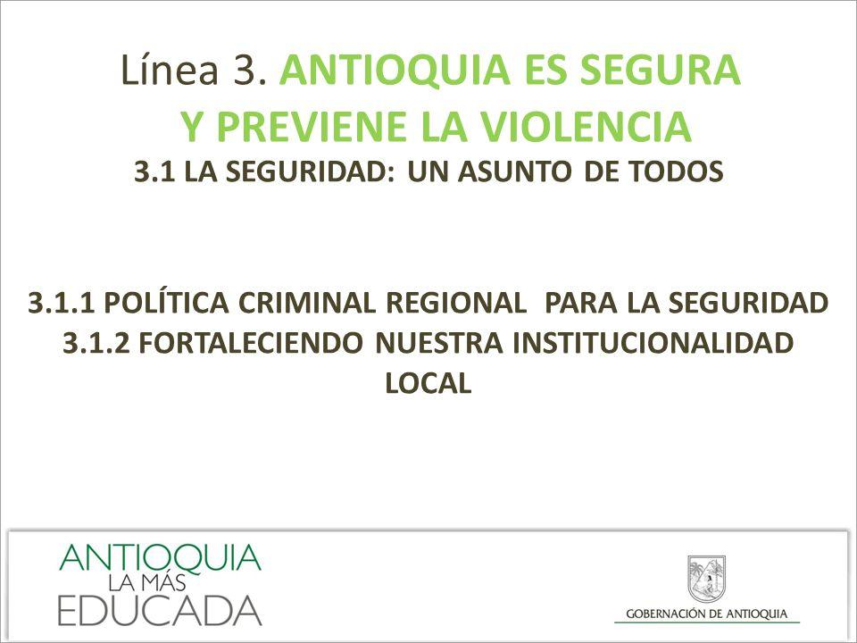 Línea 3. ANTIOQUIA ES SEGURA Y PREVIENE LA VIOLENCIA 3.1 LA SEGURIDAD: UN ASUNTO DE TODOS 3.1.1 POLÍTICA CRIMINAL REGIONAL PARA LA SEGURIDAD 3.1.2 FOR