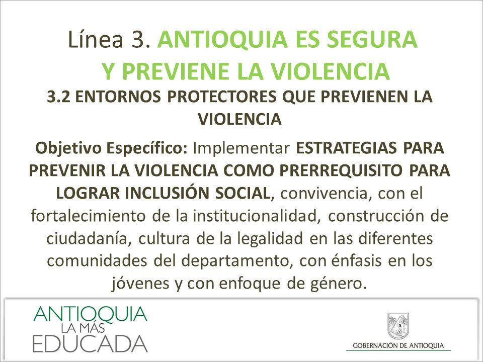 Línea 3. ANTIOQUIA ES SEGURA Y PREVIENE LA VIOLENCIA 3.2 ENTORNOS PROTECTORES QUE PREVIENEN LA VIOLENCIA Objetivo Específico: Implementar ESTRATEGIAS