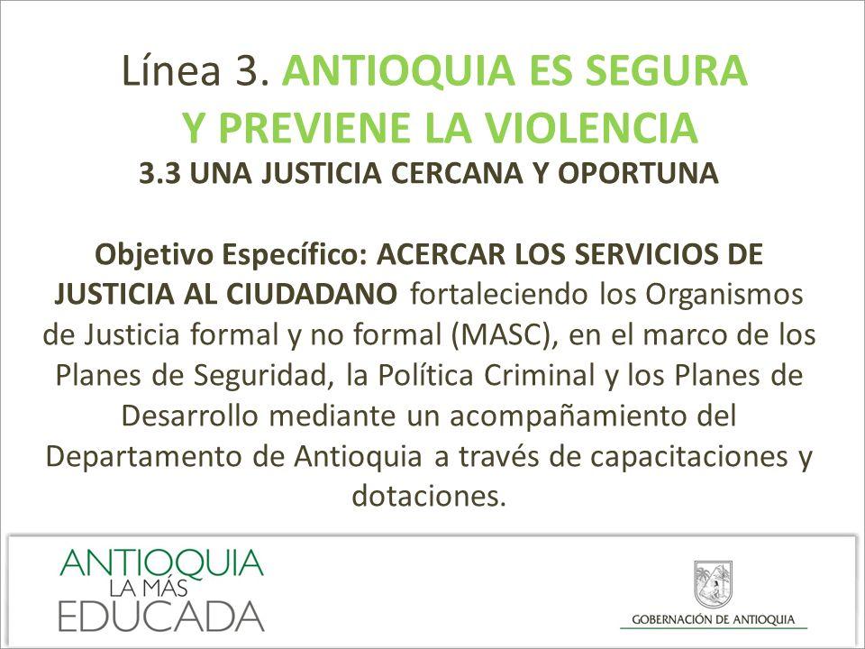 Línea 3. ANTIOQUIA ES SEGURA Y PREVIENE LA VIOLENCIA 3.3 UNA JUSTICIA CERCANA Y OPORTUNA Objetivo Específico: ACERCAR LOS SERVICIOS DE JUSTICIA AL CIU