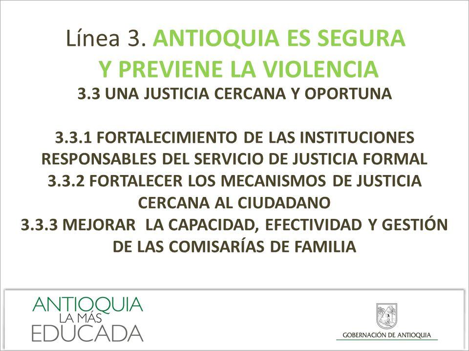 Línea 3. ANTIOQUIA ES SEGURA Y PREVIENE LA VIOLENCIA 3.3 UNA JUSTICIA CERCANA Y OPORTUNA 3.3.1 FORTALECIMIENTO DE LAS INSTITUCIONES RESPONSABLES DEL S