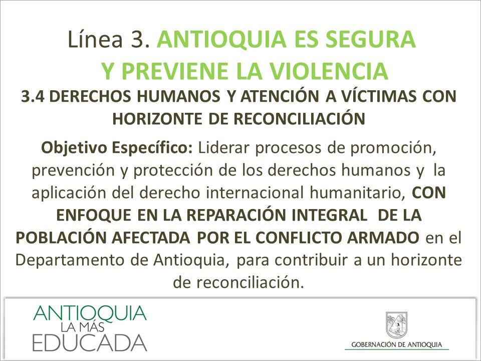 Línea 3. ANTIOQUIA ES SEGURA Y PREVIENE LA VIOLENCIA 3.4 DERECHOS HUMANOS Y ATENCIÓN A VÍCTIMAS CON HORIZONTE DE RECONCILIACIÓN Objetivo Específico: L