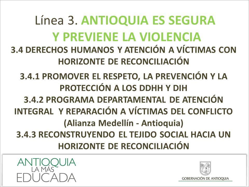 Línea 3. ANTIOQUIA ES SEGURA Y PREVIENE LA VIOLENCIA 3.4 DERECHOS HUMANOS Y ATENCIÓN A VÍCTIMAS CON HORIZONTE DE RECONCILIACIÓN 3.4.1 PROMOVER EL RESP