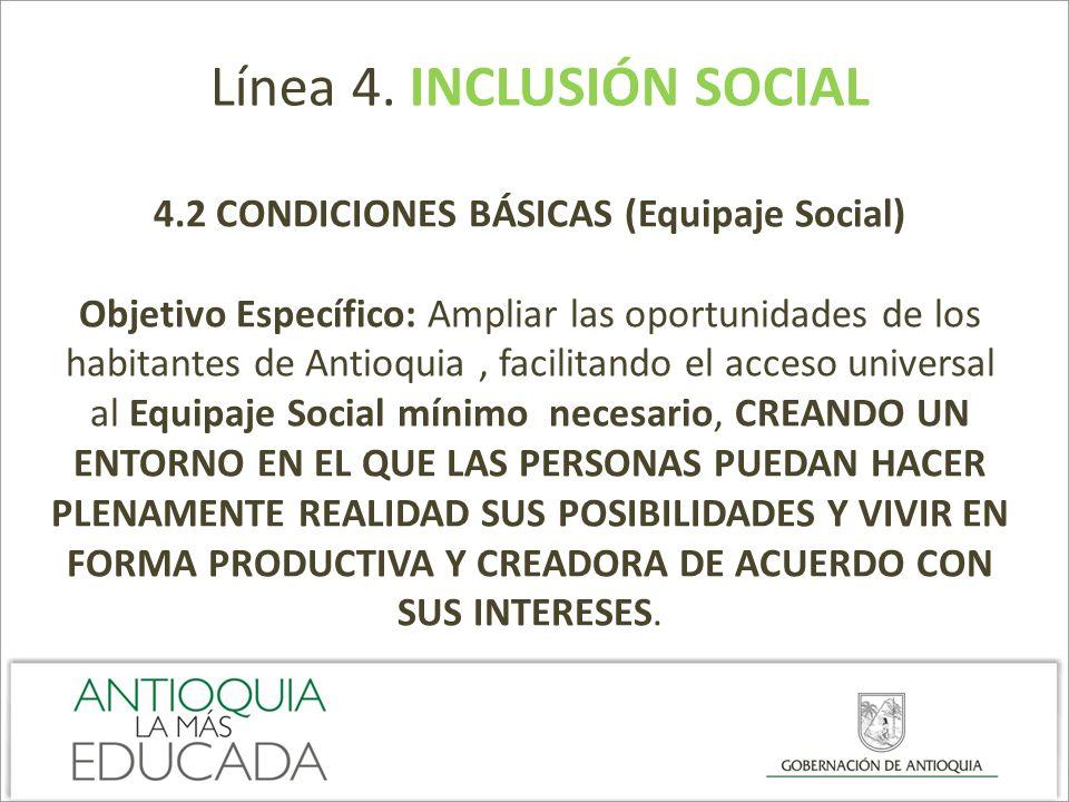 Línea 4. INCLUSIÓN SOCIAL 4.2 CONDICIONES BÁSICAS (Equipaje Social) Objetivo Específico: Ampliar las oportunidades de los habitantes de Antioquia, fac