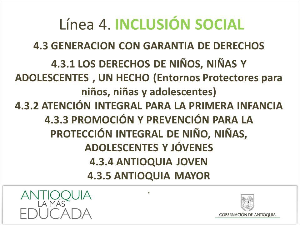 Línea 4. INCLUSIÓN SOCIAL 4.3 GENERACION CON GARANTIA DE DERECHOS 4.3.1 LOS DERECHOS DE NIÑOS, NIÑAS Y ADOLESCENTES, UN HECHO (Entornos Protectores pa