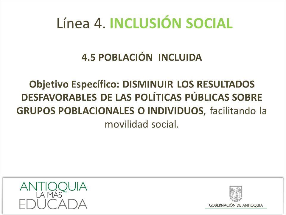 Línea 4. INCLUSIÓN SOCIAL 4.5 POBLACIÓN INCLUIDA Objetivo Específico: DISMINUIR LOS RESULTADOS DESFAVORABLES DE LAS POLÍTICAS PÚBLICAS SOBRE GRUPOS PO