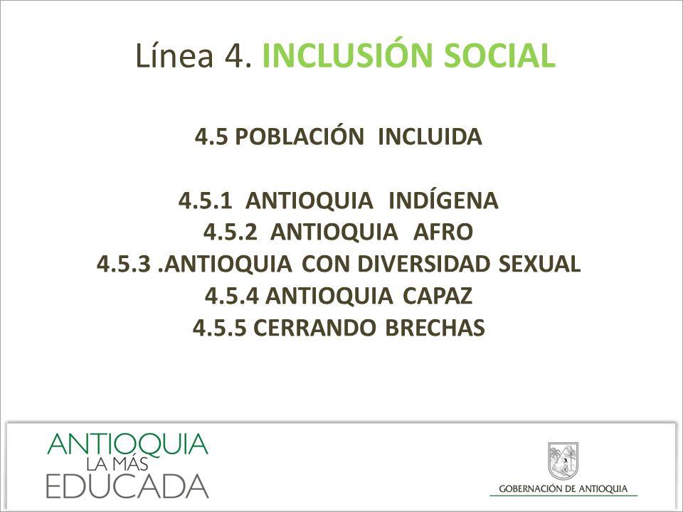 Línea 4. INCLUSIÓN SOCIAL 4.5 POBLACIÓN INCLUIDA 4.5.1 ANTIOQUIA INDÍGENA 4.5.2 ANTIOQUIA AFRO 4.5.3.ANTIOQUIA CON DIVERSIDAD SEXUAL 4.5.4 ANTIOQUIA C