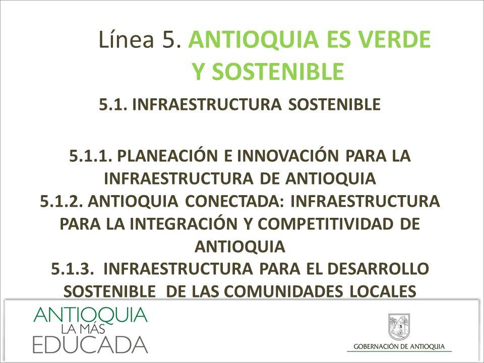Línea 5. ANTIOQUIA ES VERDE Y SOSTENIBLE 5.1. INFRAESTRUCTURA SOSTENIBLE 5.1.1. PLANEACIÓN E INNOVACIÓN PARA LA INFRAESTRUCTURA DE ANTIOQUIA 5.1.2. AN
