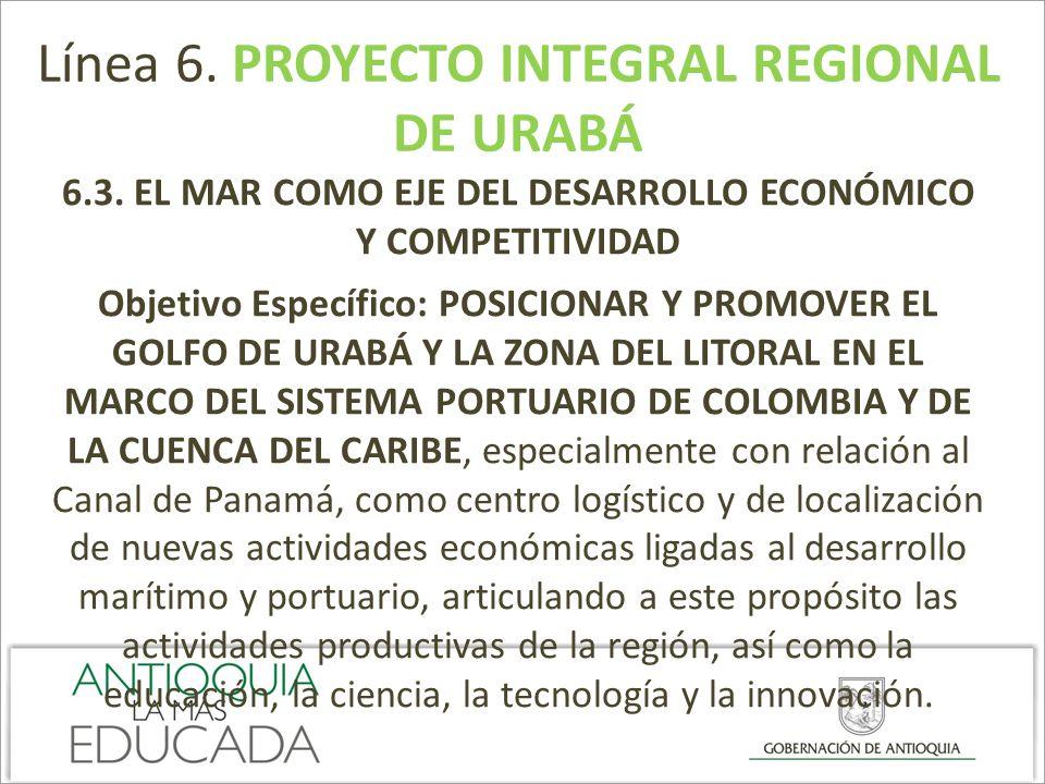 Línea 6. PROYECTO INTEGRAL REGIONAL DE URABÁ 6.3. EL MAR COMO EJE DEL DESARROLLO ECONÓMICO Y COMPETITIVIDAD Objetivo Específico: POSICIONAR Y PROMOVER