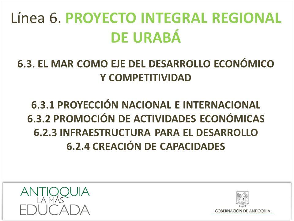 Línea 6. PROYECTO INTEGRAL REGIONAL DE URABÁ 6.3. EL MAR COMO EJE DEL DESARROLLO ECONÓMICO Y COMPETITIVIDAD 6.3.1 PROYECCIÓN NACIONAL E INTERNACIONAL