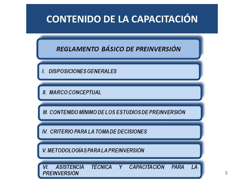 CONTENIDO DE LA CAPACITACIÓN REGLAMENTO BÁSICO DE PREINVERSIÓN I.
