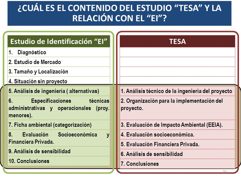 ESTUDIO TESA El estudio debe concentrarse en la profundización de aquella alternativa seleccionada como la más conveniente, dicho estudio debe ser inc