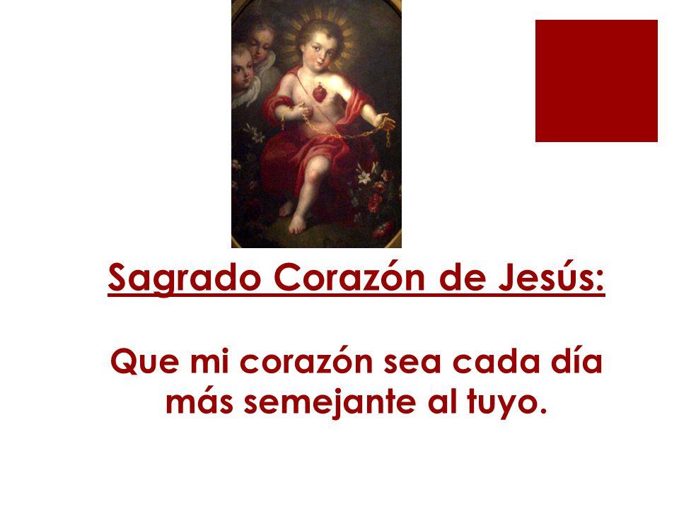 Sagrado Corazón de Jesús: Que mi corazón sea cada día más semejante al tuyo.
