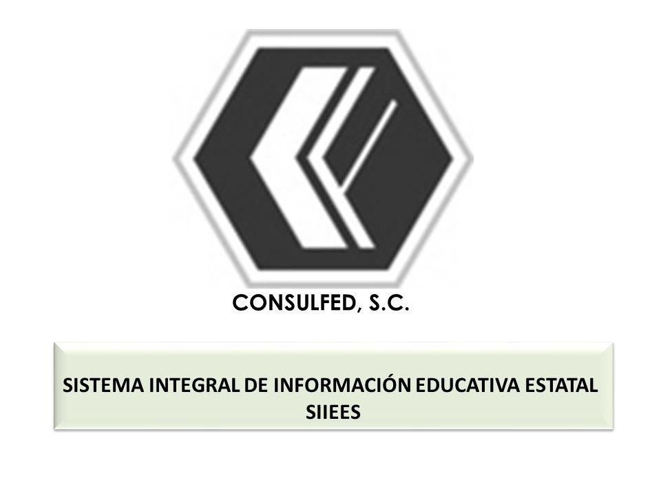 CONSULFED, S.C. SISTEMA INTEGRAL DE INFORMACIÓN EDUCATIVA ESTATAL SIIEES SISTEMA INTEGRAL DE INFORMACIÓN EDUCATIVA ESTATAL SIIEES