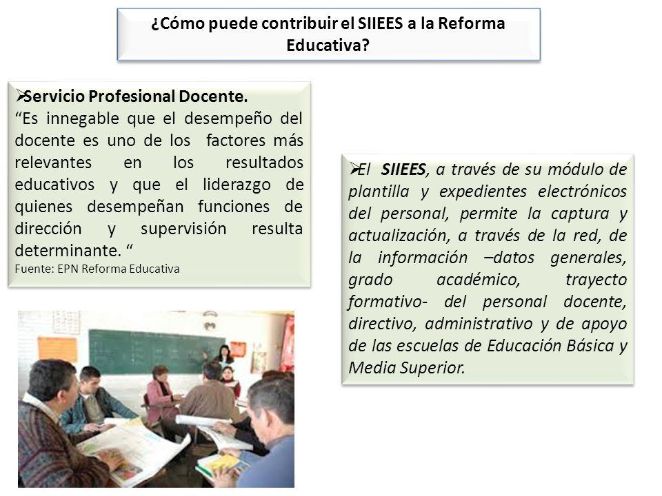 ¿Cómo puede contribuir el SIIEES a la Reforma Educativa? Servicio Profesional Docente. Es innegable que el desempeño del docente es uno de los factore