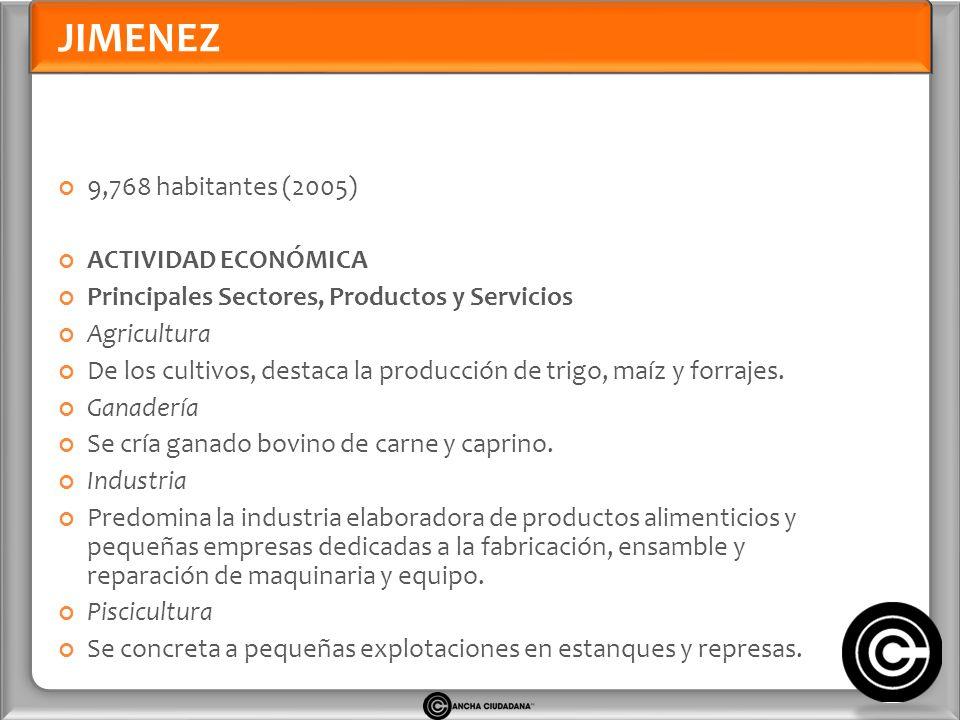 JIMENEZ 9,768 habitantes (2005) ACTIVIDAD ECONÓMICA Principales Sectores, Productos y Servicios Agricultura De los cultivos, destaca la producción de trigo, maíz y forrajes.