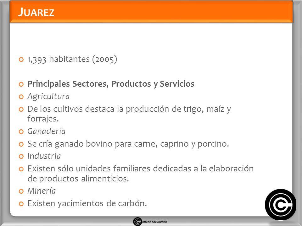 J UAREZ 1,393 habitantes (2005) Principales Sectores, Productos y Servicios Agricultura De los cultivos destaca la producción de trigo, maíz y forrajes.