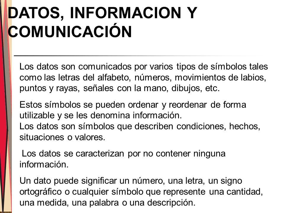 DATOS, INFORMACION Y COMUNICACIÓN Los datos son comunicados por varios tipos de símbolos tales como las letras del alfabeto, números, movimientos de labios, puntos y rayas, señales con la mano, dibujos, etc.