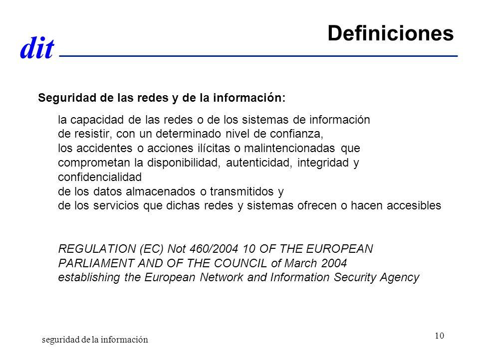 dit Definiciones Seguridad de las redes y de la información: la capacidad de las redes o de los sistemas de información de resistir, con un determinado nivel de confianza, los accidentes o acciones ilícitas o malintencionadas que comprometan la disponibilidad, autenticidad, integridad y confidencialidad de los datos almacenados o transmitidos y de los servicios que dichas redes y sistemas ofrecen o hacen accesibles REGULATION (EC) Not 460/2004 10 OF THE EUROPEAN PARLIAMENT AND OF THE COUNCIL of March 2004 establishing the European Network and Information Security Agency seguridad de la información 10