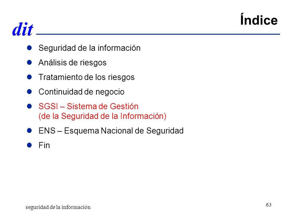 dit Índice Seguridad de la información Análisis de riesgos Tratamiento de los riesgos Continuidad de negocio SGSI – Sistema de Gestión (de la Seguridad de la Información) ENS – Esquema Nacional de Seguridad Fin seguridad de la información 63