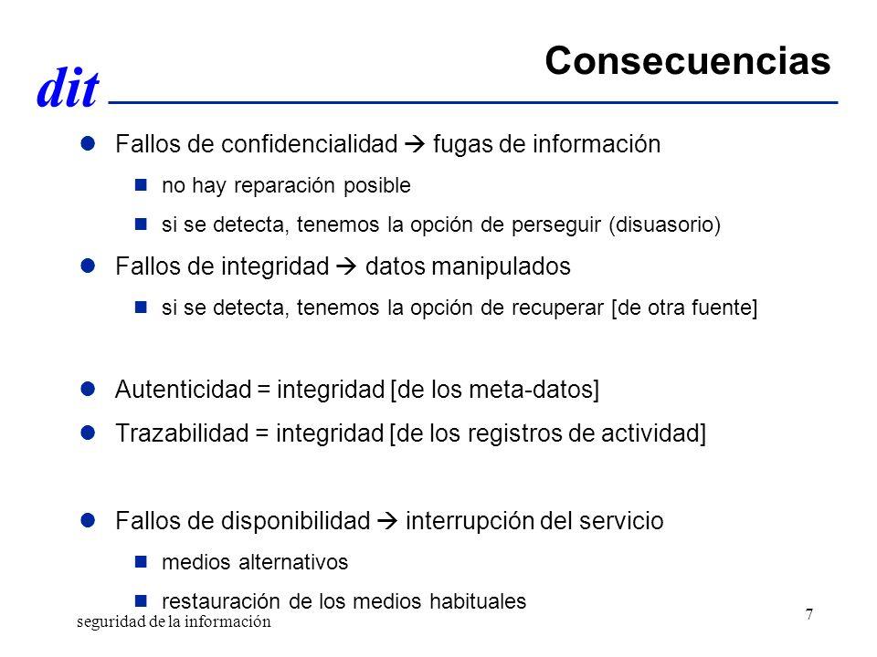 dit Consecuencias Fallos de confidencialidad fugas de información no hay reparación posible si se detecta, tenemos la opción de perseguir (disuasorio)