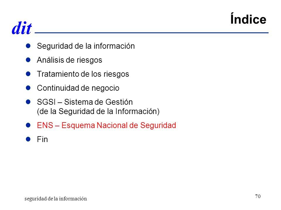 dit Índice Seguridad de la información Análisis de riesgos Tratamiento de los riesgos Continuidad de negocio SGSI – Sistema de Gestión (de la Seguridad de la Información) ENS – Esquema Nacional de Seguridad Fin seguridad de la información 70