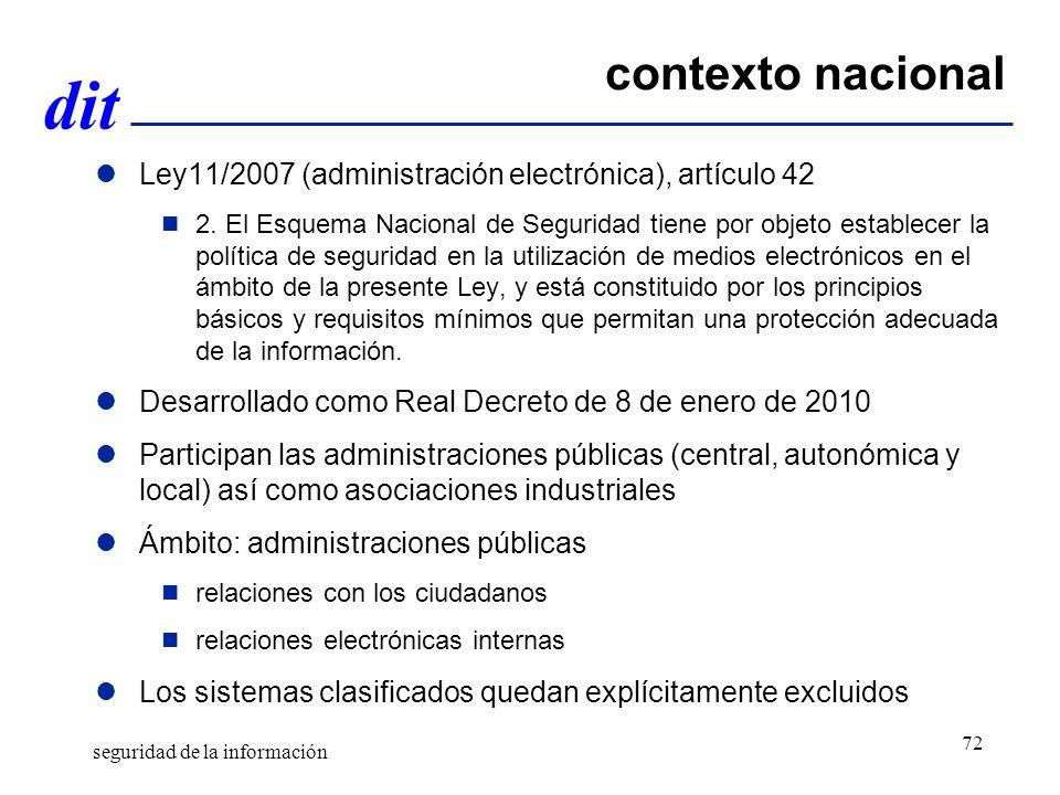 dit contexto nacional Ley11/2007 (administración electrónica), artículo 42 2. El Esquema Nacional de Seguridad tiene por objeto establecer la política