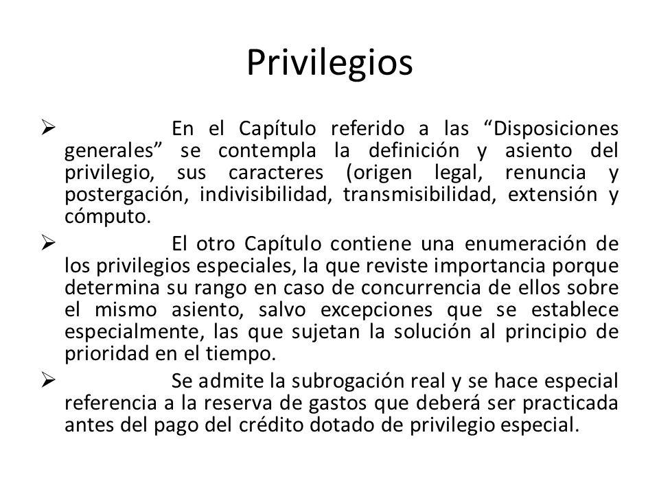 Privilegios En el Capítulo referido a las Disposiciones generales se contempla la definición y asiento del privilegio, sus caracteres (origen legal, r