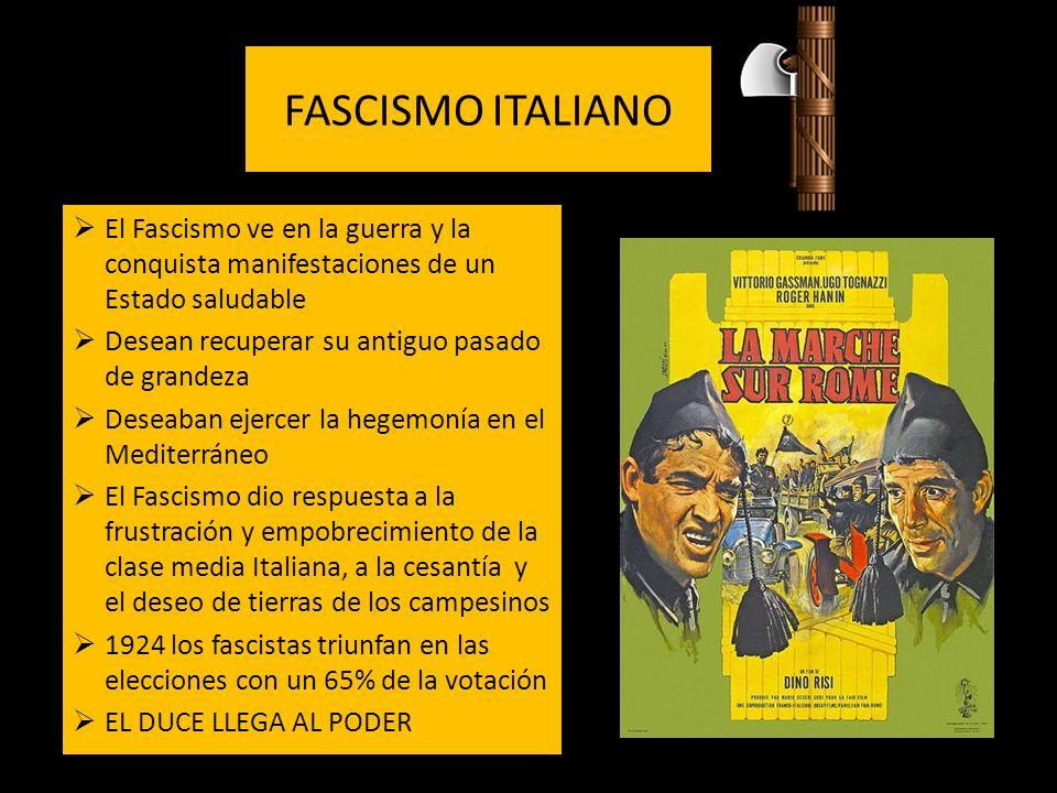 FASCISMO ITALIANO El Fascismo ve en la guerra y la conquista manifestaciones de un Estado saludable Desean recuperar su antiguo pasado de grandeza Des