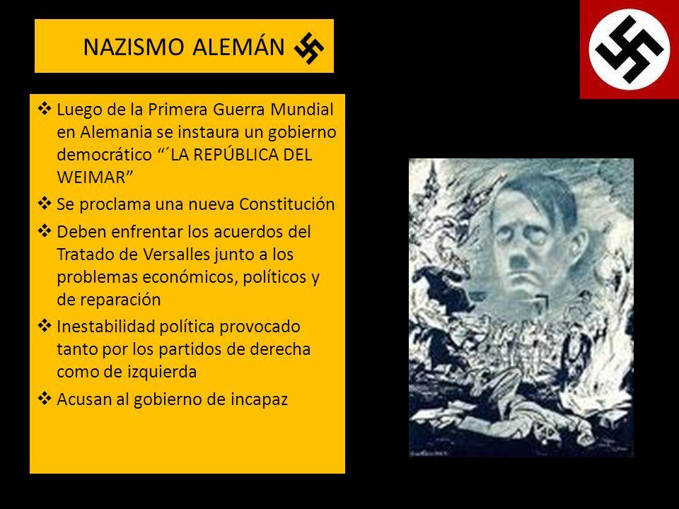 NAZISMO ALEMÁN Luego de la Primera Guerra Mundial en Alemania se instaura un gobierno democrático ´LA REPÚBLICA DEL WEIMAR Se proclama una nueva Const