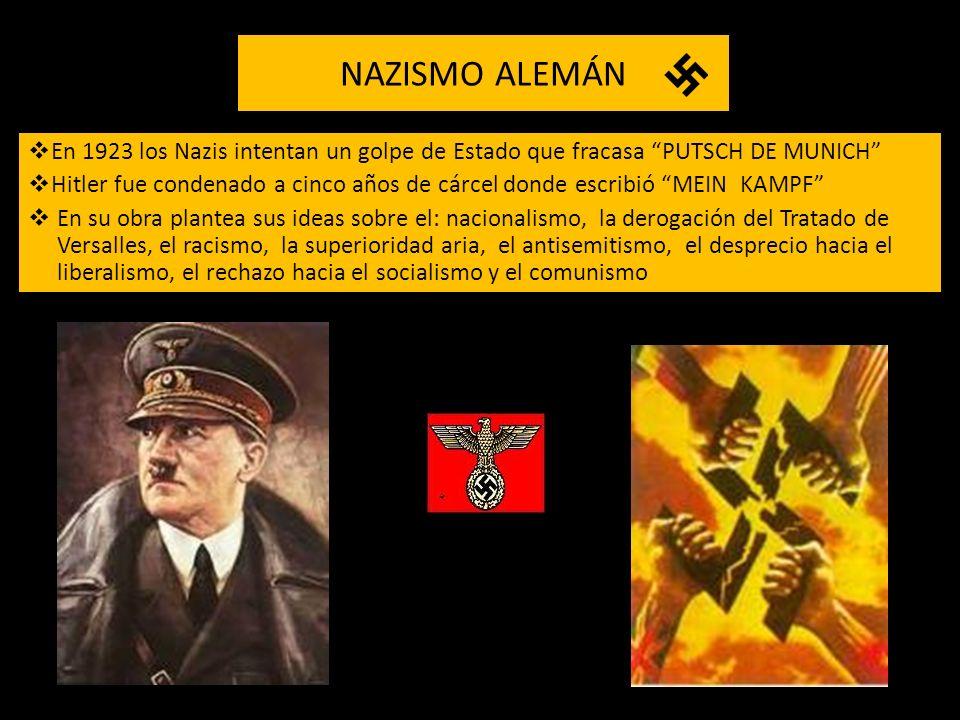 NAZISMO ALEMÁN En 1923 los Nazis intentan un golpe de Estado que fracasa PUTSCH DE MUNICH Hitler fue condenado a cinco años de cárcel donde escribió M