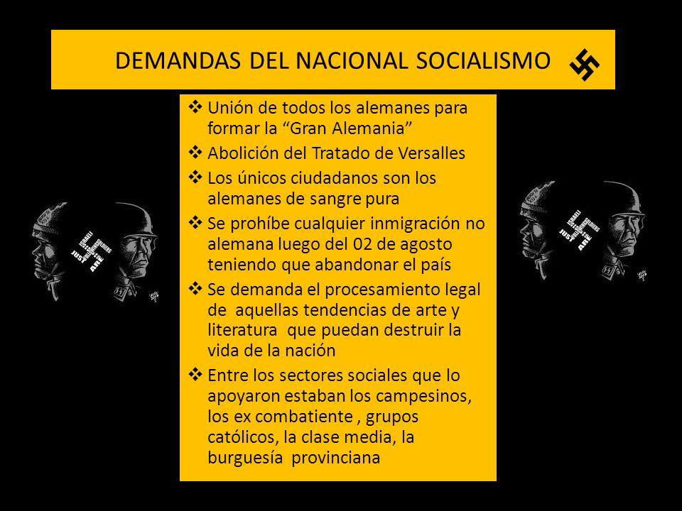 DEMANDAS DEL NACIONAL SOCIALISMO Unión de todos los alemanes para formar la Gran Alemania Abolición del Tratado de Versalles Los únicos ciudadanos son