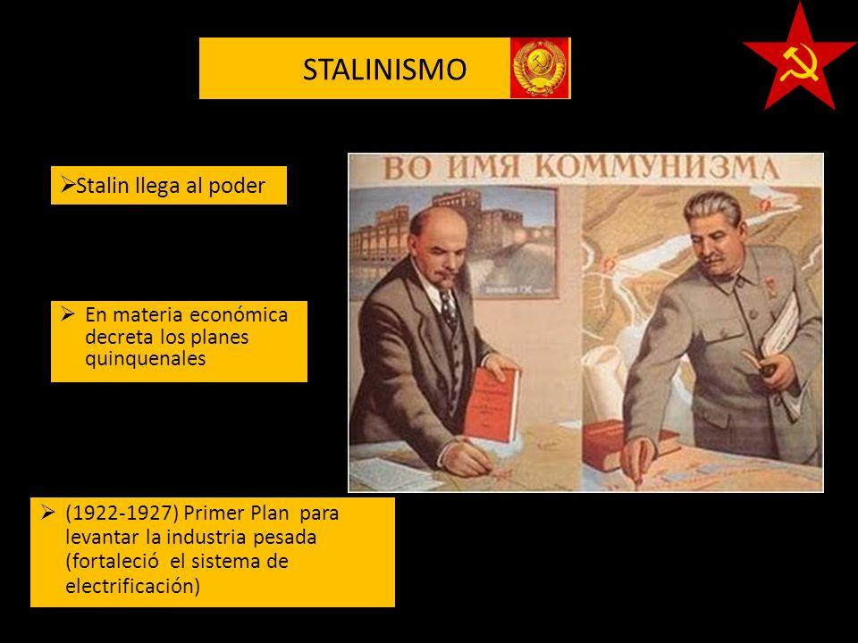STALINISMO (1922-1927) Primer Plan para levantar la industria pesada (fortaleció el sistema de electrificación) En materia económica decreta los plane