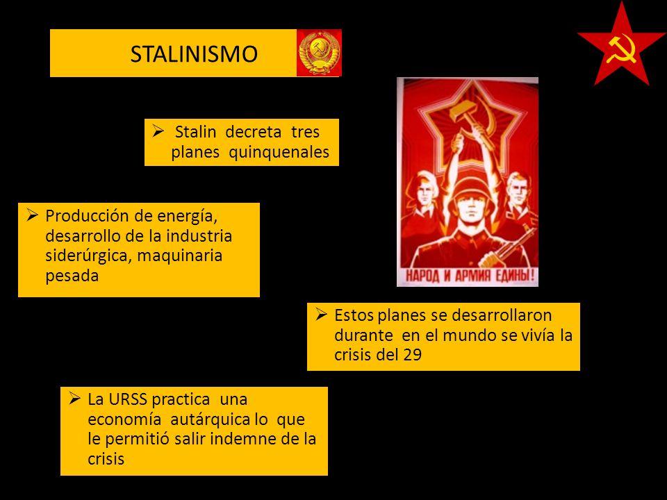 STALINISMO La URSS practica una economía autárquica lo que le permitió salir indemne de la crisis Estos planes se desarrollaron durante en el mundo se