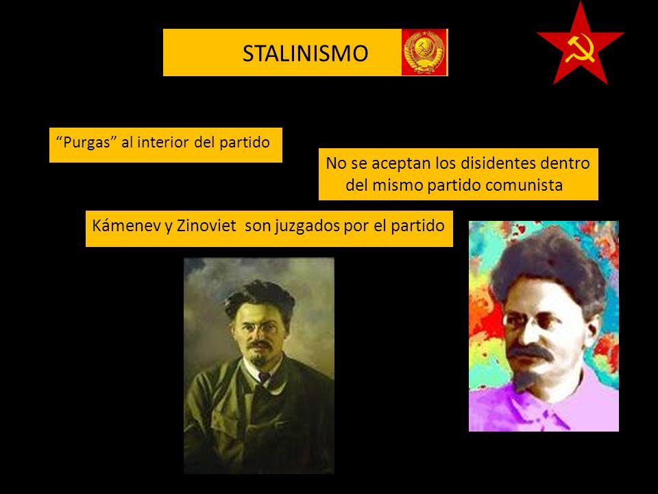 STALINISMO Kámenev y Zinoviet son juzgados por el partido Purgas al interior del partido No se aceptan los disidentes dentro del mismo partido comunis